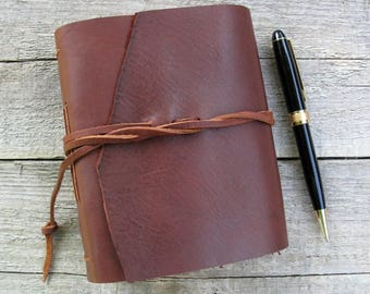 """Leather journal / """"I am out with lanterns, looking for myself""""/ Emily Dickinson quote / rustic journal / 320 pages"""