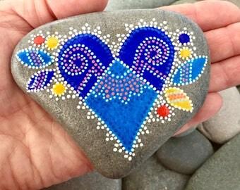 blue velvet / painted stones/painted rocks/paperweights/valentines/desk art/boho art/ hippie art/ heart rocks / heart stones / dot rocks