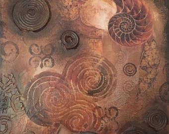 Ammonite spirals art print instant download Earths Treasures original mixed media art