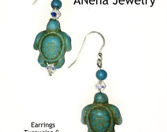 """Turquoise Turtle Earrings: 925 Sterling Silver, Turquoise Turtles & Swarovski Elements """" Nautical Bliss"""", By ANena Jewelry"""