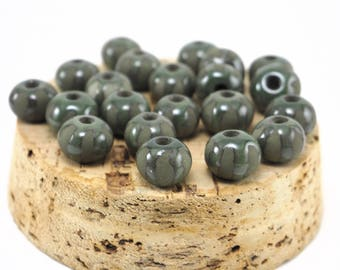 Green ceramic beads, Round beads, 2 pcs, 3 mm hole size, Matt beads, Unique beads, Small beads, Handmaede pottery beads, Jewelry beads