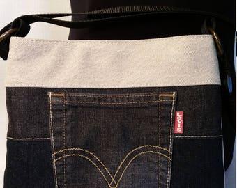 Repurposed Denim Jeans Slim Line Cross Body bag with Black Pleather bottom Kakhi top and Jean Pocket