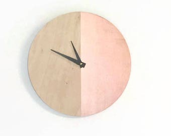Wall Clocks,  Rose Gold Art, Wood Clock, Home and Living, Wall Clocks, Home Decor