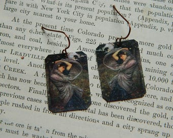 Art earrings Boreas earrings art earrings John Waterhouse mixed media jewelry