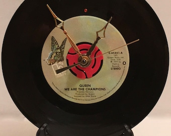 """Recycled QUEEN 7"""" Record / We Are The Champions / Record Clock"""