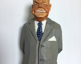 Rare Gunnarsson President Eisenhower Mid century wooden carving Folk Art hand carved Sweden Artist Nixon Republican Party 1960s Figurine