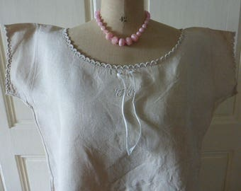 Antique French Pure Linen Nightgown,Nightdress, Chemise,  Vintage, Unworn. Not from a Chateau.