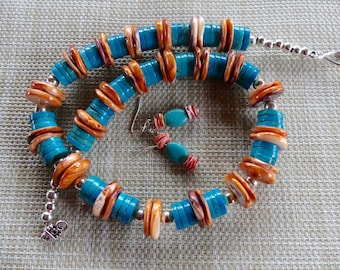 22 Inch Southwestern Lions Paw Spiny Oyster and Turquoise Necklace with Earrings