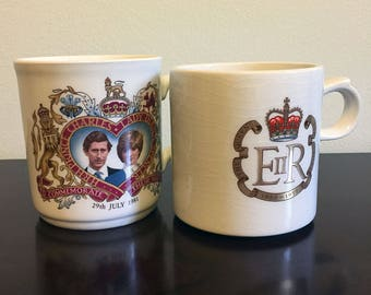 Vintage British Royal Family Commemorative Coffee Cups - Wedding & Silver Jubilee