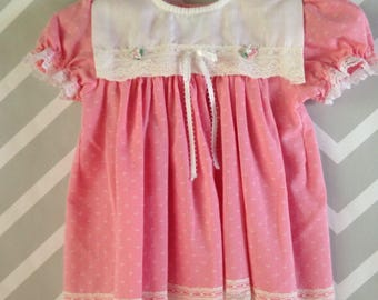 vintage pink and white lace trimmed dress for baby by jcpenny toddletime size 0-3-6 months