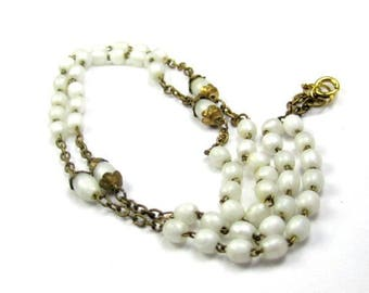 Art Deco Necklace, White Glass Bead Necklace, 1920s Vintage Jewelry SUMMER SALE