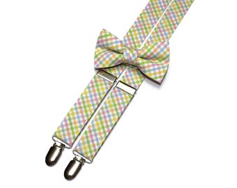 Boys Easter Tattersall Suspenders~Plaid Suspenders~Pink Yellow Blue Green Plaid~Easter Suspender~Suspenders Matching Bow Tie~Easter Bow Tie