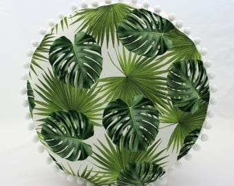 Urban Jungle Tropical  Circle Cushion 16 Inches with Pom Poms Green Monstera and Palm Leaves Print