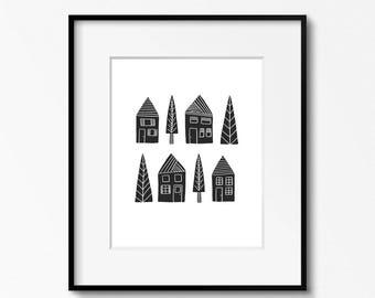 Houses 8x10 print - black and white art - DIY home office decor - Scandinavian art - printable wall art
