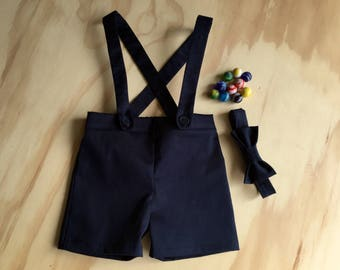 Ring bearer outfit baby boy suspender shorts navy shortalls photo prop special occasion  Ask a question