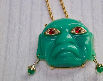 Vintage Kenneth Jay Lane Mask Pendant With Chain