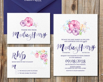 Watercolor printable wedding invitation, flower invitation, cottage chic wedding, rustic wedding, save the date, DIY