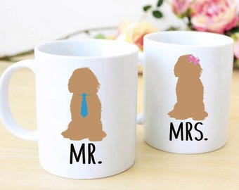 Goldendoodle Mr & Mrs Mugs | His and Hers Mugs | Wedding Gift Idea | Anniversary Gift | Couples Gift Set | Pet Parents Gift | Couples Mugs