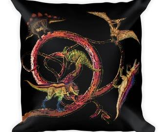 Dinosaur Square Pillow, Dinosaur Pillow, Dino Pillow, Prehistoric Pillow, Dinosaur Throw Pillow, Animal Pillow, Wildlife Pillow, Dinosaur