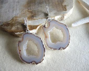 Agate Earrings, Agate Slice Geode Earrings, Geode Earrings, Sterling Silver Leverback Earrings, Gem Stone Earrings, Jewelry Gifts For Her