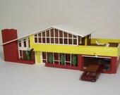 Cool Retro 1960's Plasticville Contemporary 2 Story A-Line Roof House with Garage, Sun Deck, Backyard Patio. Original Box. HO Scale Model.