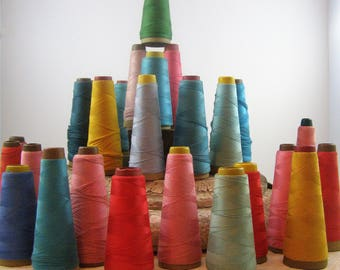 30 Cardboard Cones with Brightly Colored Thread. Photography Props. Craft Room Decor. Sewing Quilting Projects.  Ribbon, Rick Rack Storage.