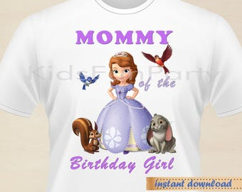 Disney Sofia the First MOMMY of the Birthday Girl - INSTANT DOWNLOAD -  Birthday Girl - Sofia the First  Party Favors