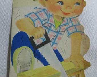 30% Off Clearance Sale Vintage 1950's Birthday Greeting Card-Fine Grandson-Boy With Toy Saw