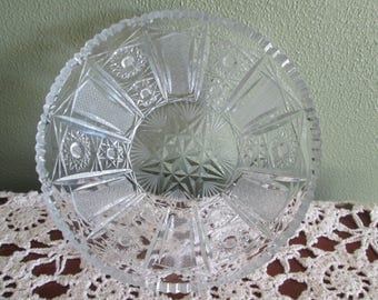 Cut Glass Bowl Saw Tooth Edge