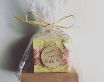 Housewarming Gift: Housewarming gift under 20 includes wooden soap dish and 2 full bars handmade soap, welcome home gift, housewarming gift