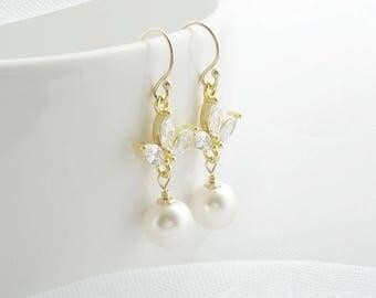 Pearl and CZ gold drop earrings, pearl earrings, bridal jewellery, bridal earrings, wedding earrings, gold bridal earrings