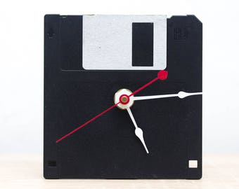 Unique Desk clock - black recycled floppy disk clock, ready to ship c7010