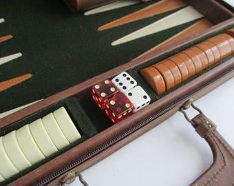 Vintage Backgammon Attache Leatherette Case Bakelite Fred Roberts Co. San Francisco