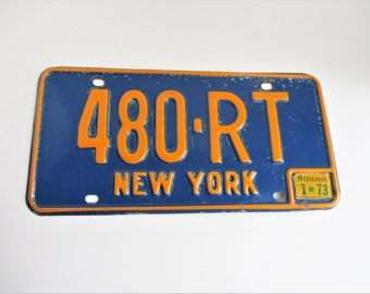 Vintage License Plate New York 1973  Blue Gold 480-RT