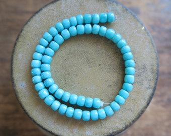 """Breathtaking  ROBIN'S egg  BLUE Mexican Campitos Turquoise Smooth Pueblo Beads, 5mm, 9"""" Strand"""