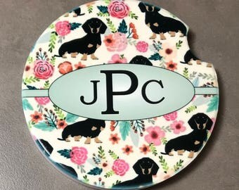 Car Coasters Dotson Dog Monogrammed Cup Holder Coaster Personalized Coaster