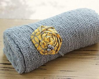 Ready To Ship- GREY Stretch Knit Wrap, newborn wrap, photography prop, yellow headband