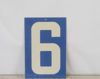 Vintage Metal Number 6/0 Double Sided Sign Gas Station Signs #2
