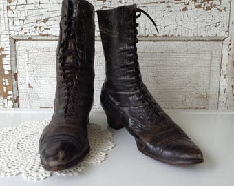 Antique Lace Up Boots Victorian Edwardian Womens Ladies Granny Ankle Boots