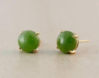 ON SALE Round Genuine Jade Stud Earrings - 10K Yellow Gold