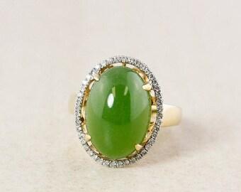 FLASH SALE Siberian Jade and White Diamond Halo Ring – 18KT Yellow Gold
