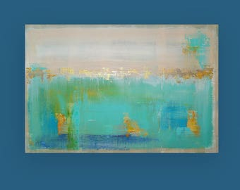 Art, Large Painting, Original Abstract, Acrylic Paintings on Canvas by Ora Birenbaum Titled: Aqua Dreams 24x36x1.5""