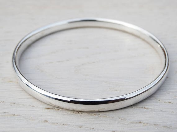 Chunky Silver Bangle - Solid Silver Heavy Bangle - Sterling Silver