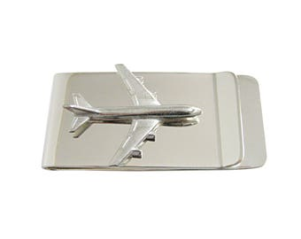 Smooth Large Commercial Jet Plane Money Clip