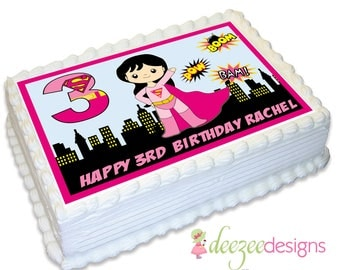 Supergirl A4 Edible Icing Cake Topper - EI082A4