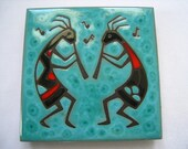 CLEO TEISSEDRE Turquoise Tile with Kokopelli Musicians in Red, Black & Turquoise. Coaster.  Trivet.  Wall Decor.  1980's.  Made in NM.