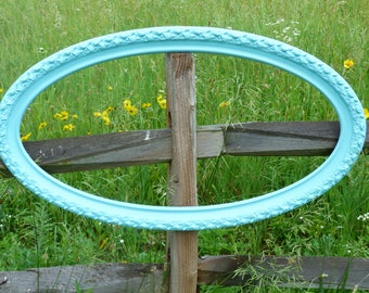 Aqua Blue Wall Sign Frame Combo, Wall hanging, Wall Decor,  Ornate Oval Frame, Cottage Chic Frame