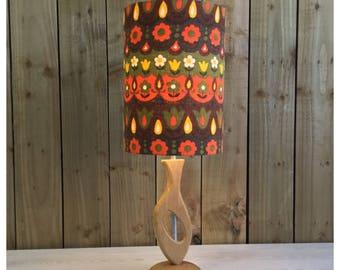 HandMade Retro 60s 70s Style Wooden Lamp Base & Vintage Scandi Fabric Light Shade