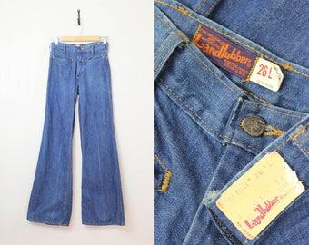 vintage 70s deadstock jeans / 1970s LANDLUBBER jeans / high waist wide leg jeans / vintage 70s denim / nos denim pants
