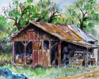 Home Decor - The Old Barn - art print FREE SHIPPING